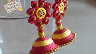 getlinkyoutube.com-DIY How to make paper quilled jhumka, Red and Yellow Paper quilling jhumka tutorial