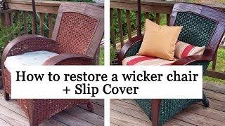 getlinkyoutube.com-Restoring a wicker chair + Slip Cover