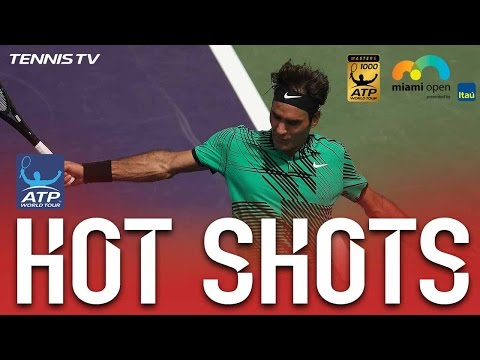 Federer Connects With Stunning Backhand Hot Shot At Miami Open 2017