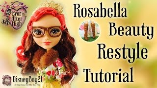getlinkyoutube.com-Ever After High Rosabella Beauty Doll Hair Restyle & Repaint Tutorial - How to Curl Doll Hair