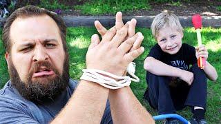 getlinkyoutube.com-KIDS TIE UP DAD & Epic Stomp Rocket