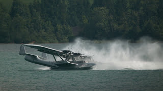 Seaplane Performs Spin Upon Water Landing