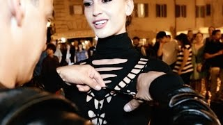 Shredded With Adam Saaks Designs Dress on Natalia Barulich in the Streets of Rome, Italy