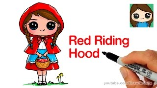 How to Draw Little Red Riding Hood Cute and Easy