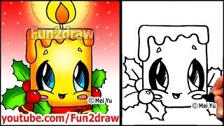 getlinkyoutube.com-How to Draw Christmas Pictures - Candle + Holly Decoration - Fun2draw Easy Cartoons