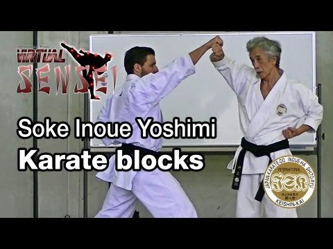 Soke Inoue Yoshimi teaching karate blocks - Summer Camp 2013