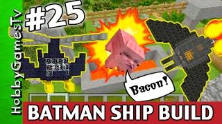 getlinkyoutube.com-Minecraft BATMAN SPACESHIP Bat Copter HobbyKids Build! Turn HobbyPig Into BACON HobbyGamesTV