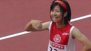 getlinkyoutube.com-日本陸上 Women 400m 決勝,杉浦はる香(浜松市立高3年)52秒52 Final Track Athletics 2013.6.8