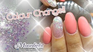 getlinkyoutube.com-Acrylic nails design with colour change gel polish | featuring Moonlight glitter