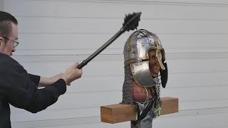 getlinkyoutube.com-Helmet tests, part 4 - Unexpected weapon failure! (vs. Anglo-saxon helmet)