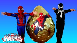 getlinkyoutube.com-GIANT EGG SURPRISE OPENING SPIDERMAN Marvel Superhero Toys Kids Video Spiderman Vs Venom