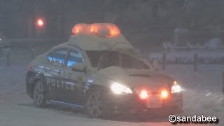 getlinkyoutube.com-吹雪を走るレガシィ&180系パトカー。 Legacy  and Crown of the police car running in a snowstorm.