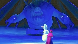 Marshmallow ice monster attacks Anna, Kristoff, Olaf in Frozen Disney on Ice skating show