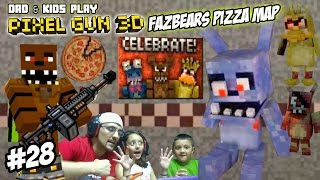 getlinkyoutube.com-Dad & Kids play PIXEL GUN 3D! Freddy Fazbears Pizza Map! SCARY PIZZERIA w/ David After Dentist? FNAF