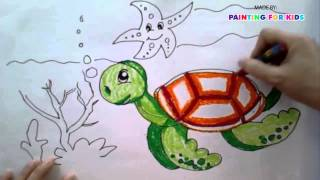 getlinkyoutube.com-Painting animals for kids | How to draw a sea turtle step by step easy | Art for kids