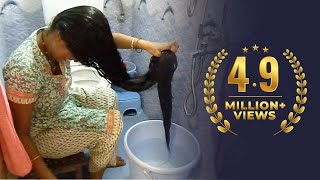 getlinkyoutube.com-Rapunzel Washing & Drying her Below Knee Length Extra Thick Hair