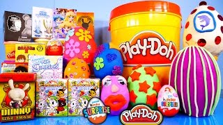 getlinkyoutube.com-Surprise Eggs Play Doh Kinder Kidrobot Simpsons Disney Vinylmation Toys Playdough Playset Bucket
