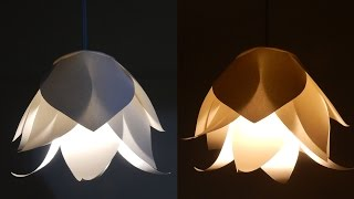 getlinkyoutube.com-DIY flower lamp - learn how to make a paper flower lampshade for a pendant light - EzyCraft