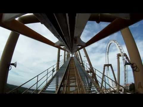 Pyrenees Roller Coaster POV Front Seat B&amp;M Inverted Parque Espana 1080p HD