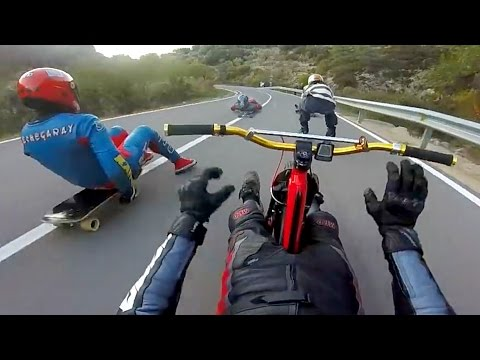 Extreme Downhill Drift Trike, Street Luge & Inline Skating!
