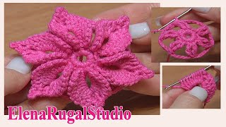 getlinkyoutube.com-Crochet 3D Flower Tutorial 46 Fleur au crochet facile à réaliser