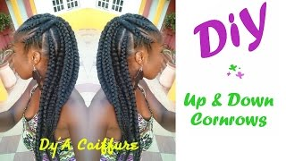 getlinkyoutube.com-DIY : Up & Down Cornrows - By Dy'A Coiffure
