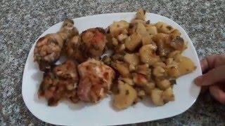 getlinkyoutube.com-شهيوات ام وليد دجاج محمر مع البطاطا في كيش الشواء