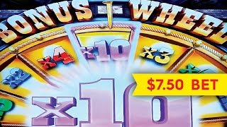 Buffalo Grand Slot - 10x JACKPOT WHEEL Bonus - $7.50 Bet!