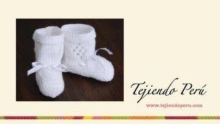 getlinkyoutube.com-Zapatitos con rombos calados para bebé tejidos en dos agujas o palillos