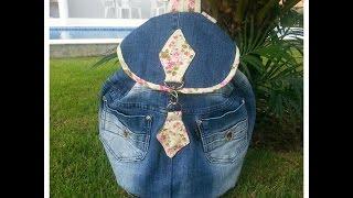 getlinkyoutube.com-Mochila jeans feita de calça