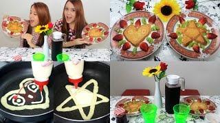 getlinkyoutube.com-PANQUECA DESENHADA - CAFÉ DA MANHÃ DIVERTIDO!! - Sisters Lellis