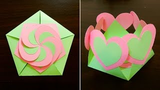 getlinkyoutube.com-Gift envelope sealed with hearts - learn how to make a gift card with interlocking hearts - EzyCraft