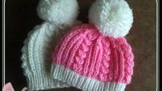 getlinkyoutube.com-Вязаная шапочка для новорожденного.Knitted hats for newborns