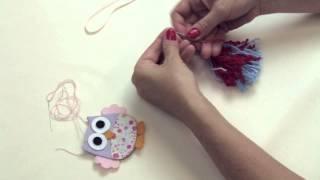 getlinkyoutube.com-Chaveiro com pingentes de lã e coruja em feltro
