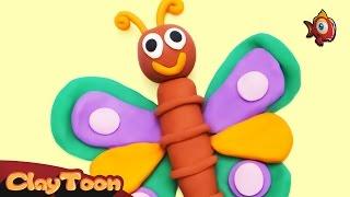 Beautiful butterfly - Polymer clay tutorial | فراشة جميلة - تشكيل صلصال للأطفال
