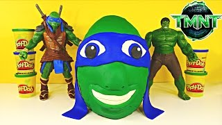 getlinkyoutube.com-Giant TMNT Surprise Egg Play Doh Teenage Mutant Ninja Turtle Huge Leonardo Huevo Sorpresa