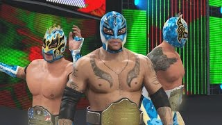 getlinkyoutube.com-WWE 2K16 Mods - Super Lucha Dragons - Rey Mysterio, Kalisto & Sin Cara BLUE Camo Attires Mod