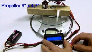 getlinkyoutube.com-Brushless Turnigy 2826-10 1400KV Bench Test - Thrust measure - Quick and dirty