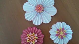 Fiori di carta scrapbooking tutorial - Paper flowers ornaments