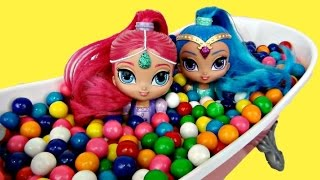 getlinkyoutube.com-Nick Jr. SHIMMER & SHINE Bath Tub Gumball Adventure Toy Surprise, Shopkins Happy Places Candy / TUYC