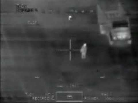 AC130 Specter Gunship in Iraq Using Night-Vision Technology Spot Men Planting Improvised Explosive Devices (IEDs), Shoot and Kill them with Chain-Gun from Maximum Distance