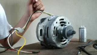 getlinkyoutube.com-Induction motor, 1 phase, manual start removing capacitor.