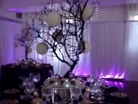 Manzanita Crystal Tree Centerpiece RENTALS in Brown with Fresh Flowers at Midtown Loft & Terrace NYC