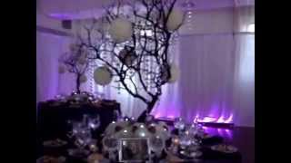 getlinkyoutube.com-Manzanita Crystal Tree Centerpiece RENTALS in Brown with Fresh Flowers at Midtown Loft & Terrace NYC