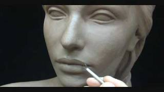 getlinkyoutube.com-Sculpting a female head in clay. Sculpting tutorial and demo.