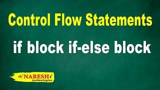 if block if-else block | Control Flow Statements Tutorial | Mr. Srinivas