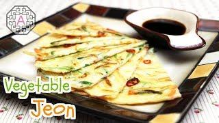 getlinkyoutube.com-Korean Food: Vegetable Pancake (야채전)