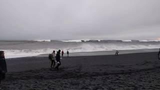 Black sand beach, BIG waves, Iceland 5 March 2017