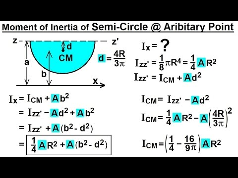 Mechanical Engineering: Ch 12: Moment of Inertia (50 of 97) Semi-Circle @ Arbitary Point***