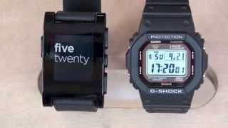 getlinkyoutube.com-Pebble Watch vs G-Shock 5600